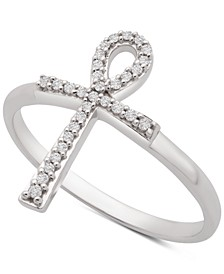 Diamond Ankh Cross Ring (1/10 ct. t.w.) in 14k White Gold, Created for Macy's