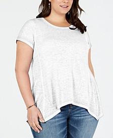 Plus Size Cotton Handkerchief-Hem Top, Created for Macy's