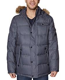 Men's Parka with Removable Faux-Fur Trimmed Hood
