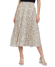 Snake-Print Cossette Pleated Maxi Skirt