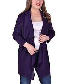 Women's Plus Size Long Sleeve Wide Lapel Cardigan