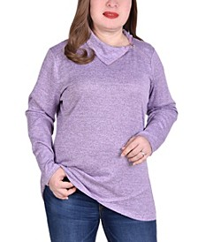 Women's Plus Size Long Sleeve Zippered High Neck Pullover Top