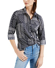 Cotton Poplin Roll-Tab Shirt
