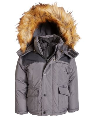 Little Boys Hooded Parka with Faux-Fur Trim