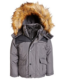 Big Boys Hooded Parka with Faux-Fur Trim