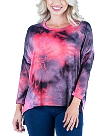 Women's Oversized Tie Dye Long Sleeve Dolman Tunic Top