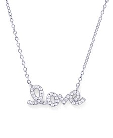 Cubic Zirconia 'Love' Necklace in Fine Silver Plate