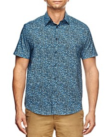 Men's Slim Fit Liberty Floral Print Short Sleeve Shirt and a Free Face Mask