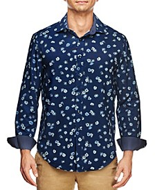 Men's Slim Fit Tossed Flower Print Long Sleeve Shirt and a Free Face Mask