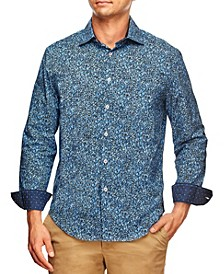 Men's Slim Fit Liberty Floral Print Long Sleeve Shirt and a Free Face Mask