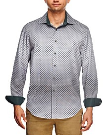 Men's Slim Fit Ombre Geo Print Long Sleeve Shirt and a Free Face Mask