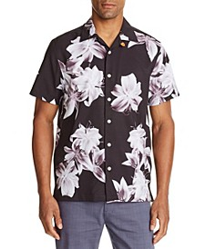 Men's Slim Fit Lily Print Short Sleeve Camp Shirt and a Free Face Mask