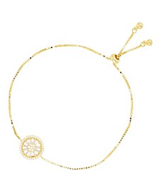 Cubic Zirconia Round and Baguette Wheel Adjustable Bolo Bracelet in 14K Gold Over Sterling Silver