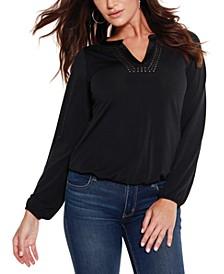 Women's Black Label Studded Blouson Sleeve Top