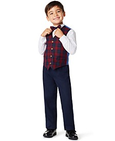 Little Boys Plaid 4 Piece Vest Set