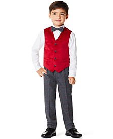 Little Boys Velvet 4 Piece Vest Set
