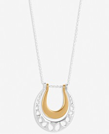 "Two-Tone Pavé Openwork Double Horseshoe Long Pendant Necklace, 31"" + 2"" extender"