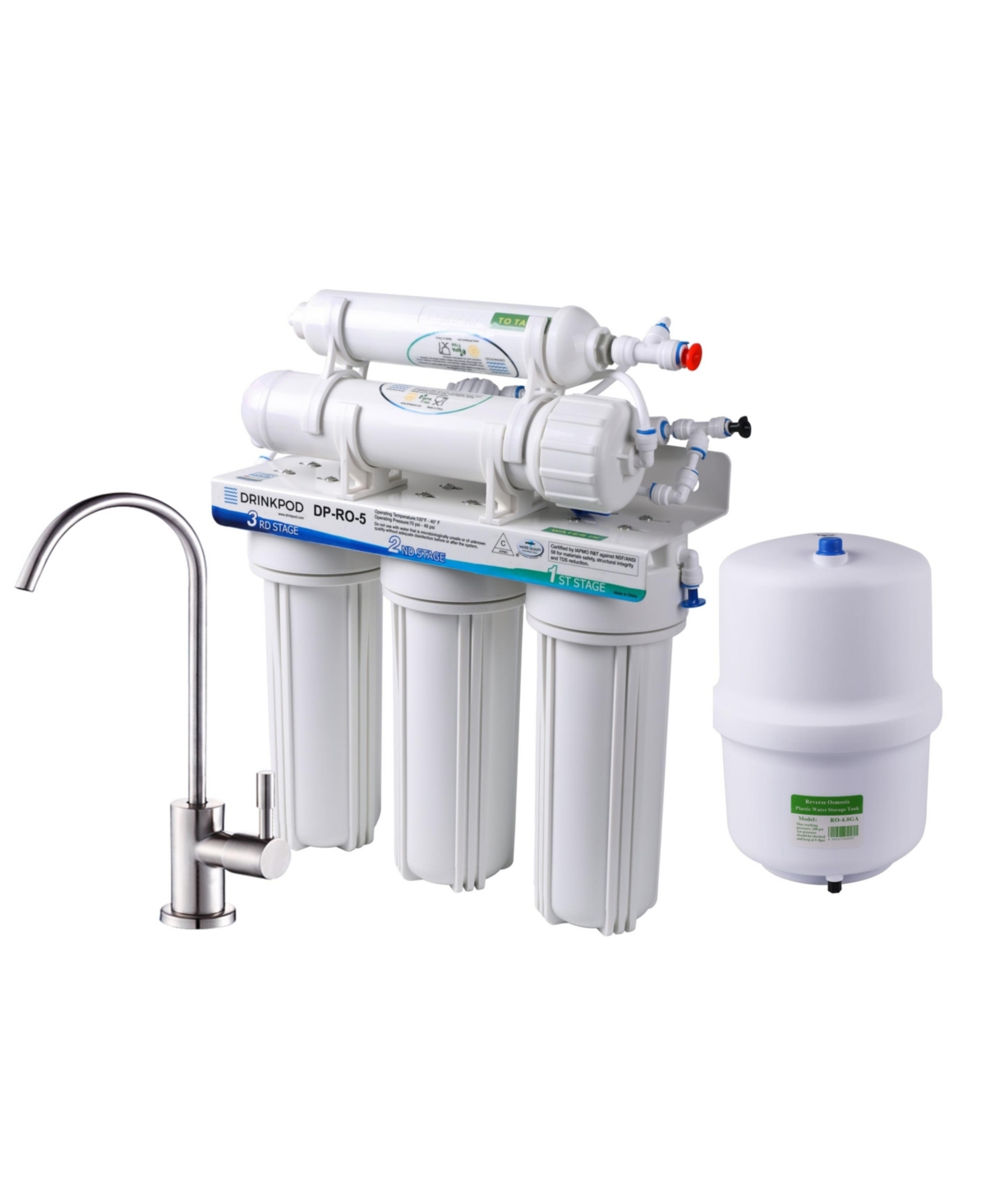 Drinkpod 5 Stage Under Sink Reverse Osmosis System with Brushed Nickel Kitchen Sink Faucet