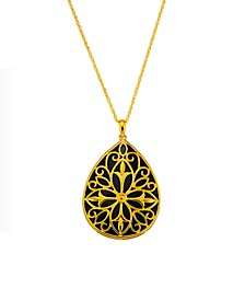 "Onyx 18"" Pendant necklace in 14k Gold Over Sterling Silver"