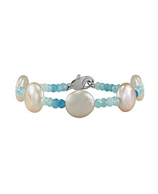 Cultured Freshwater Pearl (12-13mm) with Aquamarine Roundels Bracelet in Sterling Silver