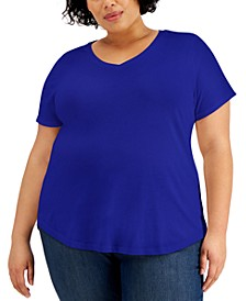 Plus Size Solid Burnout T-Shirt, Created for Macy's
