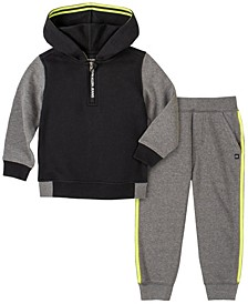 Little Boys Fleece Zip Neck Hood with Fleece Pant, 2 Piece Set