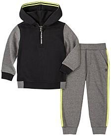 Toddler Boys Fleece Zip Neck Hood with Fleece Pant, 2 Piece Set