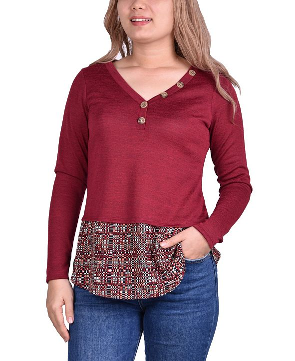 NY Collection Women's Hacci Top with Printed Hem Inset