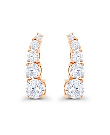 Cubic Zirconia 14K Rose Gold Graduated Curved Ear Climbers