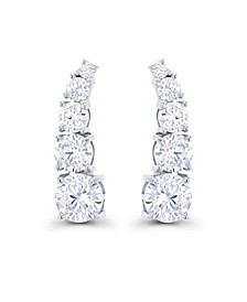 Cubic Zirconia Rhodium Plated Graduated Curved Ear Climbers