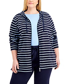 Plus Size Striped Zippered Hoodie, Created for Macy's