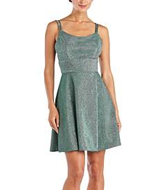 Juniors' Metallic Fit & Flare Dress