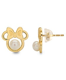 Children's Cultured Freshwater Pearl (4mm) Minnie Mouse Stud Earrings in 14k Gold