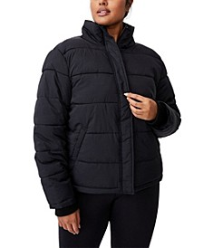 Trendy Plus Size Crinkle Puffer Jacket