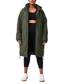 Trendy Plus Size Crinkle Longline Puffer Jacket