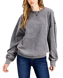Juniors' Garment-Washed Oversized Sweatshirt