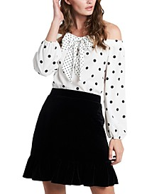 Maybelle Off-The-Shoulder Dot-Print Blouse, Created for Macy's