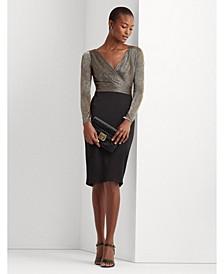 Metallic-Bodice Jersey Dress