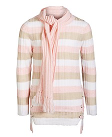 Girls Striped Sweater & Matching Scarf