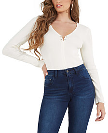 GUESS Irina Pierced Ribbed Sweater