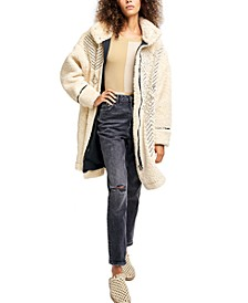 Avery Embroidered Faux-Shearling Coat