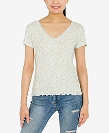 Juniors' Printed Lace-Trim Ribbed T-Shirt