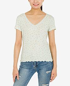 Hippie Rose Juniors' Printed Lace-Trim Ribbed T-Shirt