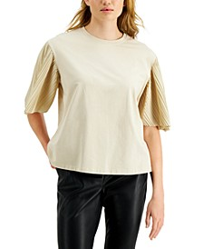 Bugia Pleated-Sleeve Top