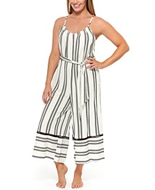 Newport Stripes Belted Jumpsuit Cover-Up