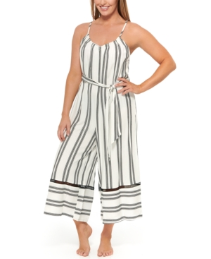 Newport Stripes Belted Jumpsuit Cover-Up Women's Swimsuit