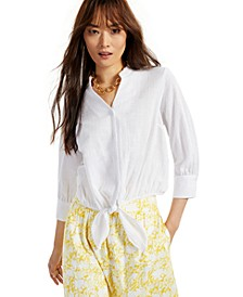 INC Tie-Hem Button-Down Top, Created for Macy's