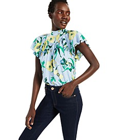 INC Cotton Flutter-Sleeve Top, Created for Macy's