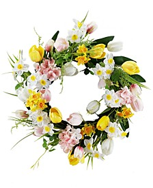 Tulip Daffodil Artificial Wreath, Created for Macy's