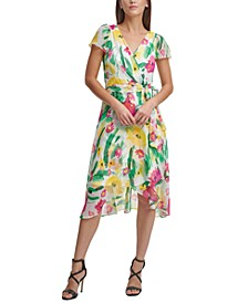 Printed Flutter-Sleeve Wrap Dress